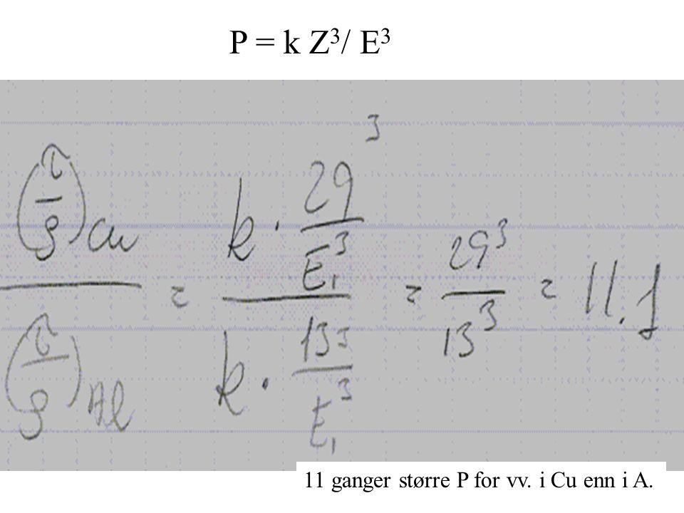 P = k Z 3 / E 3 11 ganger større P for vv. i Cu enn i A.