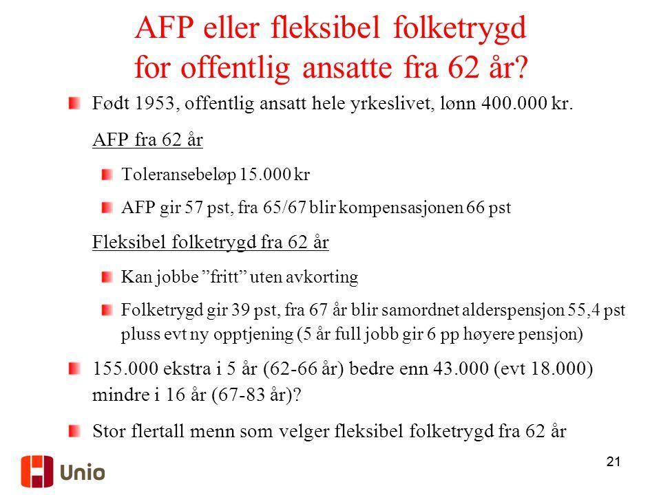 21 AFP eller fleksibel folketrygd for offentlig ansatte fra 62 år? Født 1953, offentlig ansatt hele yrkeslivet, lønn 400.000 kr. AFP fra 62 år Toleran