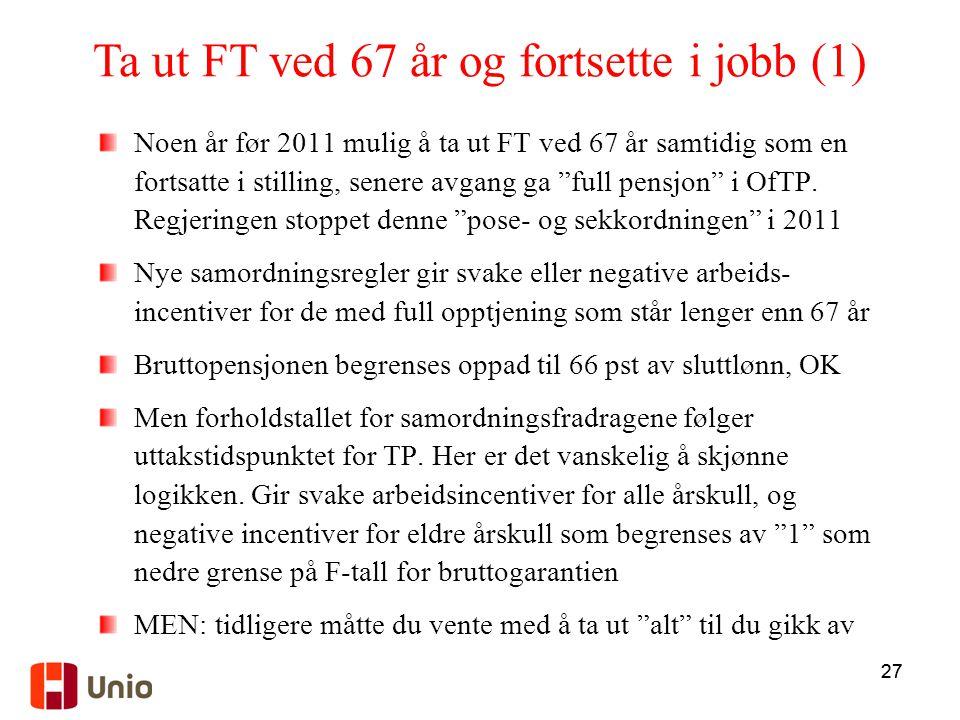 """27 Noen år før 2011 mulig å ta ut FT ved 67 år samtidig som en fortsatte i stilling, senere avgang ga """"full pensjon"""" i OfTP. Regjeringen stoppet denne"""