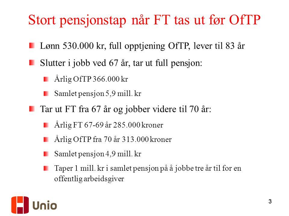 33 Stort pensjonstap når FT tas ut før OfTP Lønn 530.000 kr, full opptjening OfTP, lever til 83 år Slutter i jobb ved 67 år, tar ut full pensjon: Årli