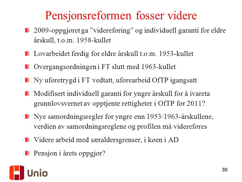 """30 Pensjonsreformen fosser videre 2009-oppgjøret ga """"videreføring"""" og individuell garanti for eldre årskull, t.o.m. 1958-kullet Lovarbeidet ferdig for"""