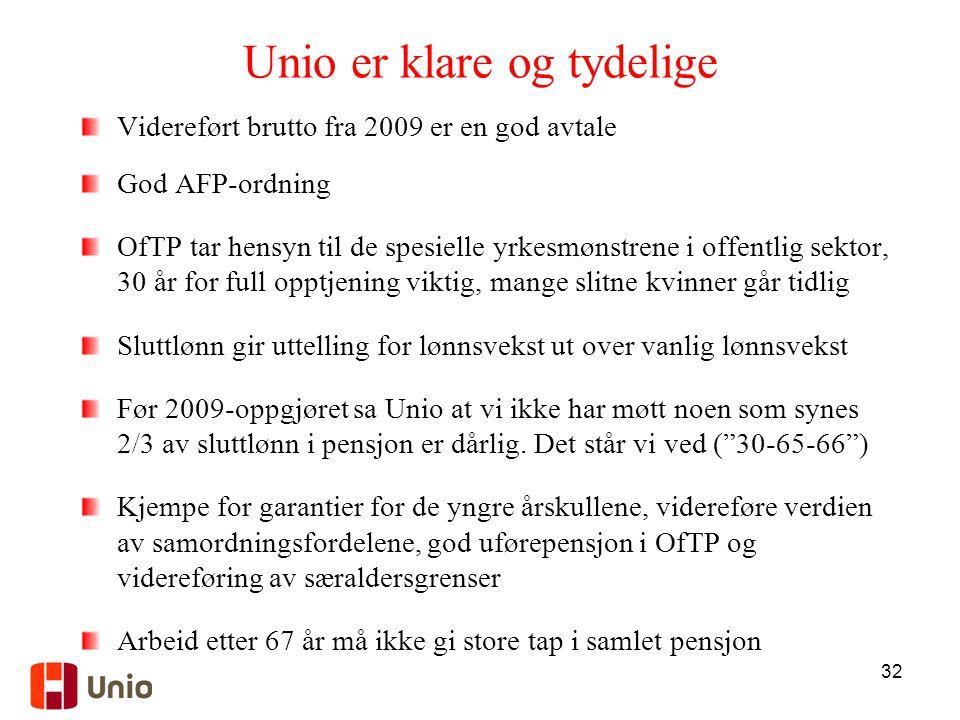 32 Unio er klare og tydelige Videreført brutto fra 2009 er en god avtale God AFP-ordning OfTP tar hensyn til de spesielle yrkesmønstrene i offentlig s