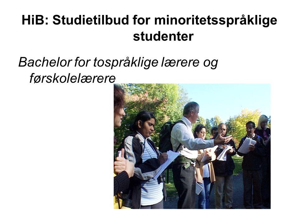 HiB: Studietilbud for minoritetsspråklige studenter Bachelor for tospråklige lærere og førskolelærere