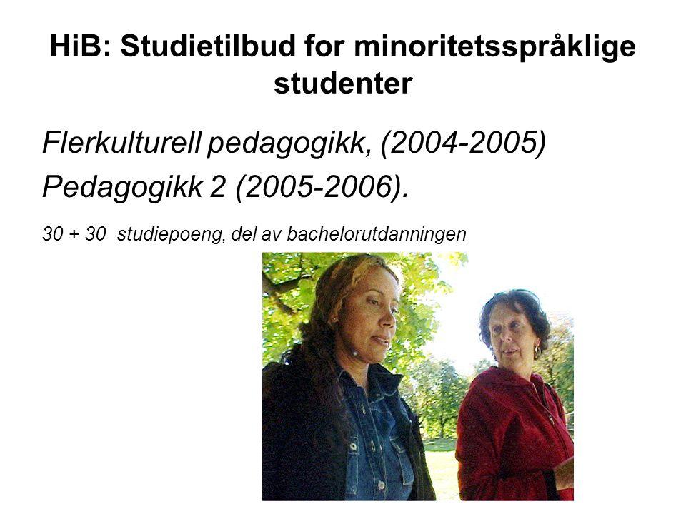 HiB: Studietilbud for minoritetsspråklige studenter Flerkulturell pedagogikk, (2004-2005) Pedagogikk 2 (2005-2006). 30 + 30 studiepoeng, del av bachel