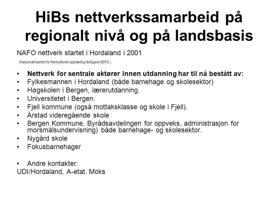 HiBs nettverkssamarbeid på regionalt nivå og på landsbasis NAFO nettverk startet i Hordaland i 2001 (Nasjonalt senter for flerkulturell opplæring /tidligere SEFS.) Nettverk for sentrale aktører innen utdanning har til nå bestått av: Fylkesmannen i Hordaland (både barnehage og skolesektor) Høgskolen i Bergen, lærerutdanning.