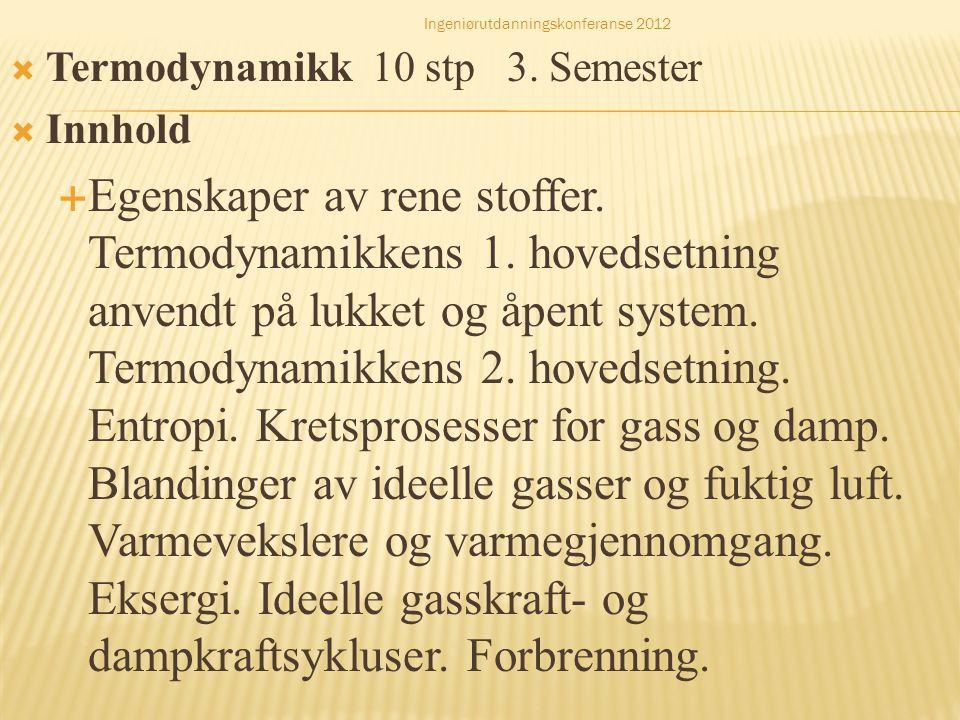  Termodynamikk 10 stp 3. Semester  Innhold  Egenskaper av rene stoffer. Termodynamikkens 1. hovedsetning anvendt på lukket og åpent system. Termody