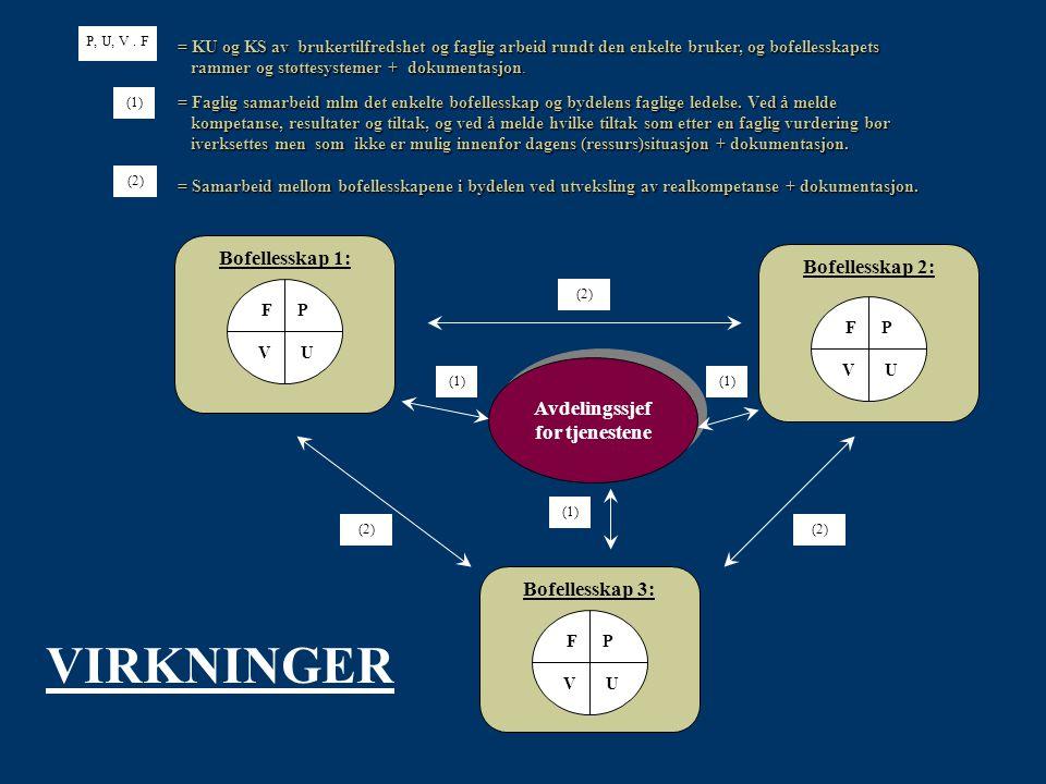 Bofellesskap 1: Avdelingssjef for tjenestene (2) (1) Bofellesskap 2: Bofellesskap 3: F P V U F P V U F P V U = KU og KS av brukertilfredshet og faglig arbeid rundt den enkelte bruker, og bofellesskapets rammer og støttesystemer + dokumentasjon.