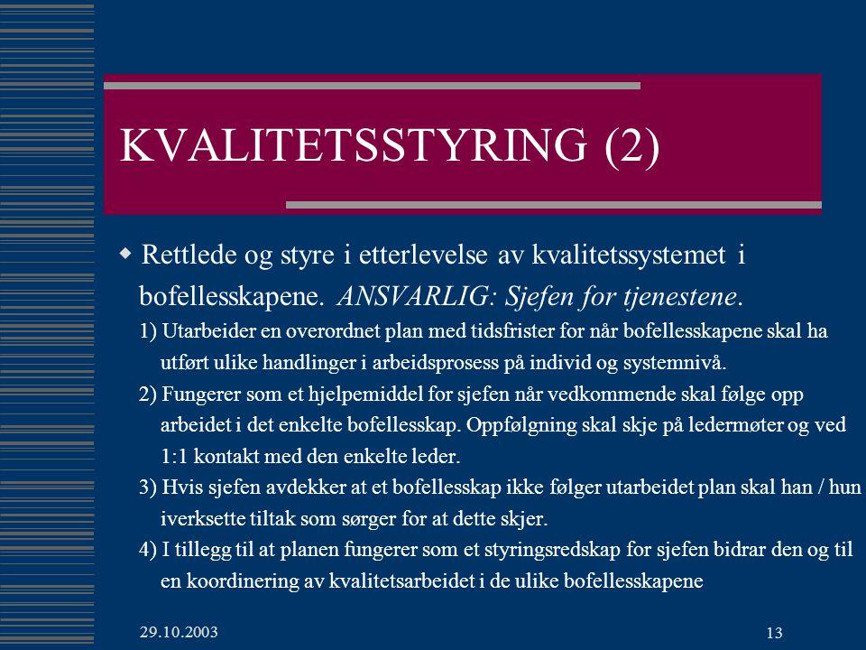 29.10.2003 13 KVALITETSSTYRING (2)  Rettlede og styre i etterlevelse av kvalitetssystemet i bofellesskapene.