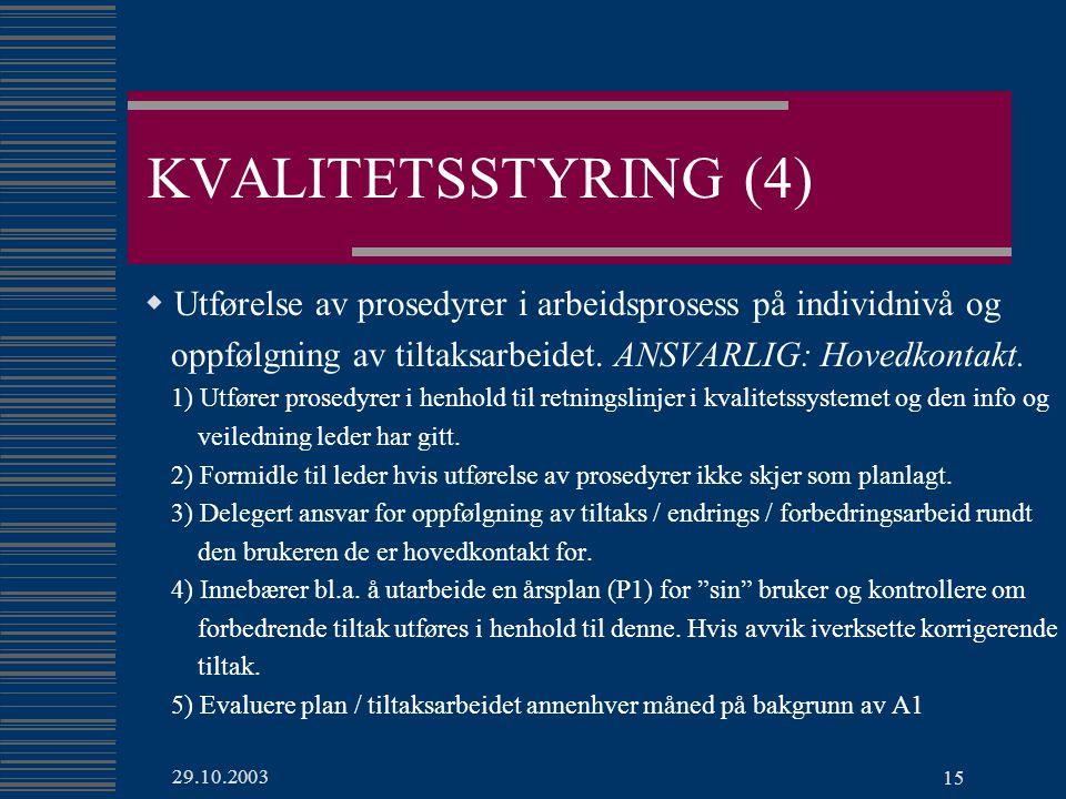 29.10.2003 15 KVALITETSSTYRING (4)  Utførelse av prosedyrer i arbeidsprosess på individnivå og oppfølgning av tiltaksarbeidet.