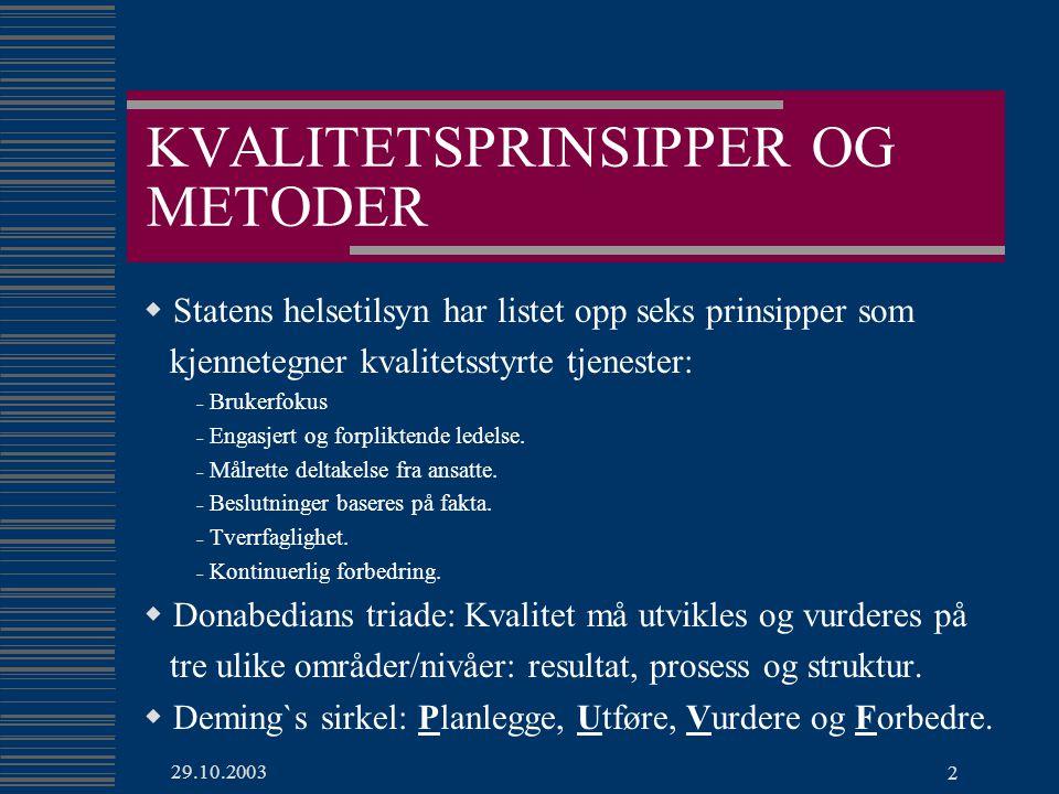 29.10.2003 2 KVALITETSPRINSIPPER OG METODER  Statens helsetilsyn har listet opp seks prinsipper som kjennetegner kvalitetsstyrte tjenester: - Brukerfokus - Engasjert og forpliktende ledelse.