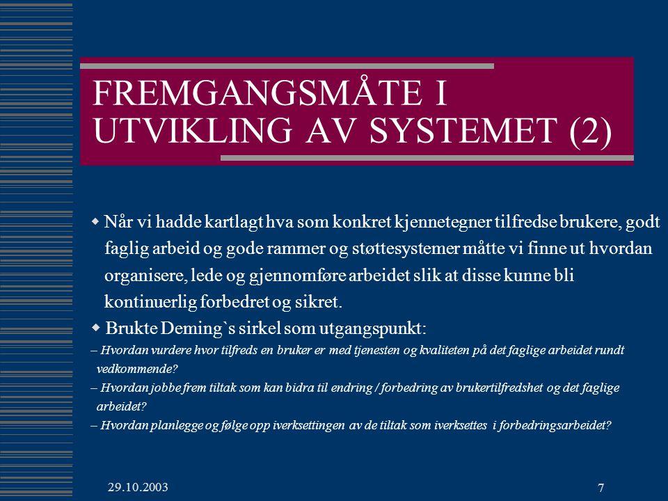 29.10.2003 8 HENSIKT MED KVALITETSSYSTEMET  Kvalitetssystemet skal bidra til etablering av rutiner som fremmer god organisering, ledelse og gjennomføring av kontinuerlig forbedring og sikring av brukertilfredshet, faglig arbeid og rammer og støttesystemer.