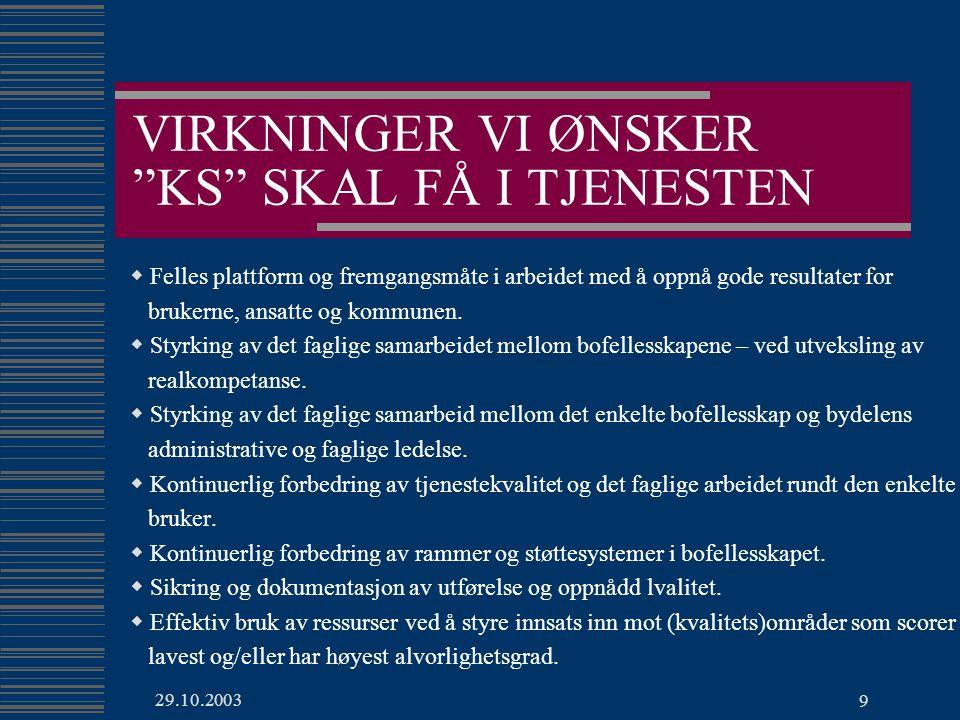 29.10.2003 9 VIRKNINGER VI ØNSKER KS SKAL FÅ I TJENESTEN  Felles plattform og fremgangsmåte i arbeidet med å oppnå gode resultater for brukerne, ansatte og kommunen.