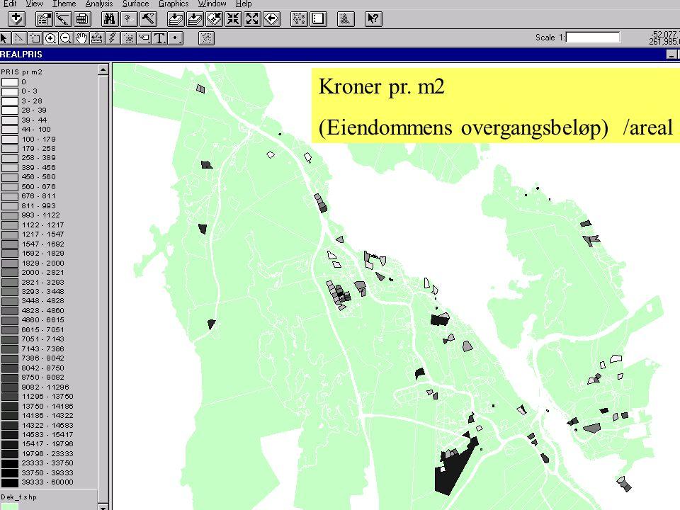 Kroner pr. m2 (Eiendommens overgangsbeløp) /areal