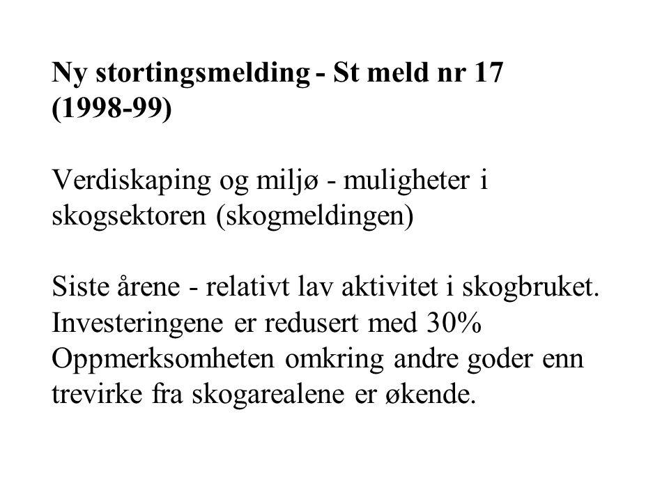 Ny stortingsmelding - St meld nr 17 (1998-99) Verdiskaping og miljø - muligheter i skogsektoren (skogmeldingen) Siste årene - relativt lav aktivitet i