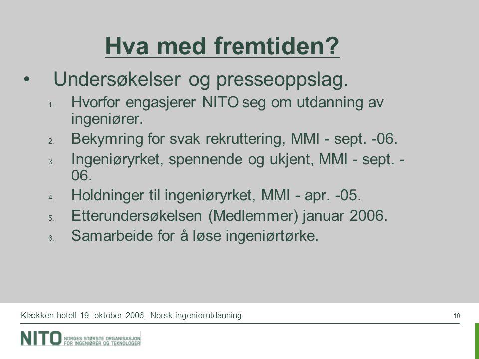 10 Klækken hotell 19. oktober 2006, Norsk ingeniørutdanning Hva med fremtiden? Undersøkelser og presseoppslag.  Hvorfor engasjerer NITO seg om utdan