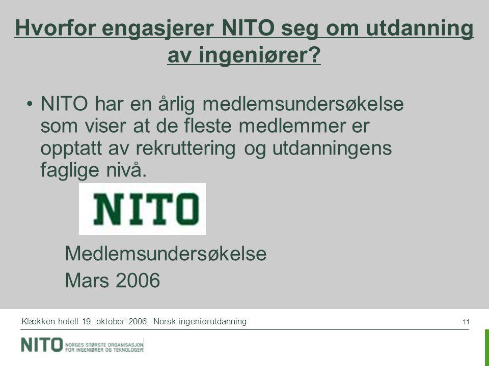 11 Klækken hotell 19. oktober 2006, Norsk ingeniørutdanning Hvorfor engasjerer NITO seg om utdanning av ingeniører? NITO har en årlig medlemsundersøke