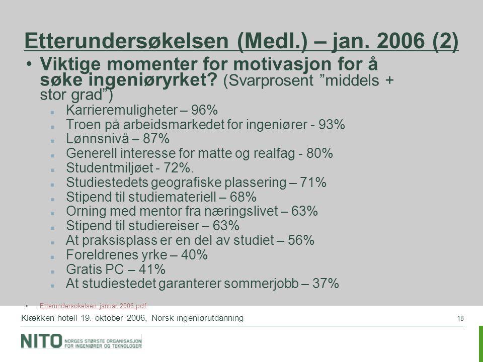 18 Klækken hotell 19. oktober 2006, Norsk ingeniørutdanning Etterundersøkelsen (Medl.) – jan. 2006 (2) Viktige momenter for motivasjon for å søke inge