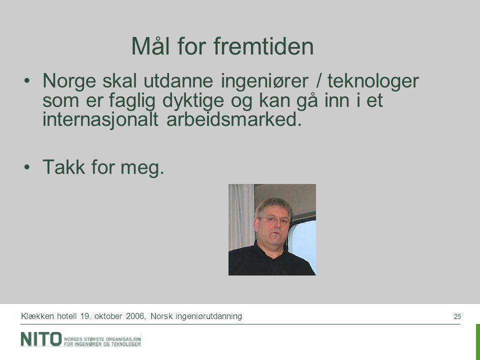25 Klækken hotell 19. oktober 2006, Norsk ingeniørutdanning Mål for fremtiden Norge skal utdanne ingeniører / teknologer som er faglig dyktige og kan