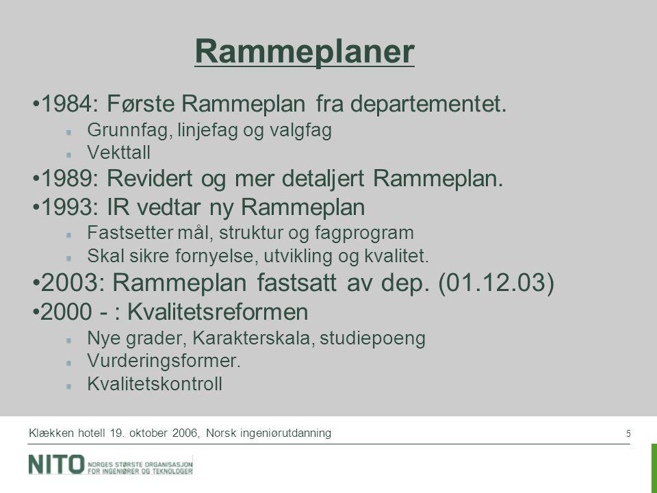 5 Klækken hotell 19. oktober 2006, Norsk ingeniørutdanning Rammeplaner 1984: Første Rammeplan fra departementet. Grunnfag, linjefag og valgfag Vekttal