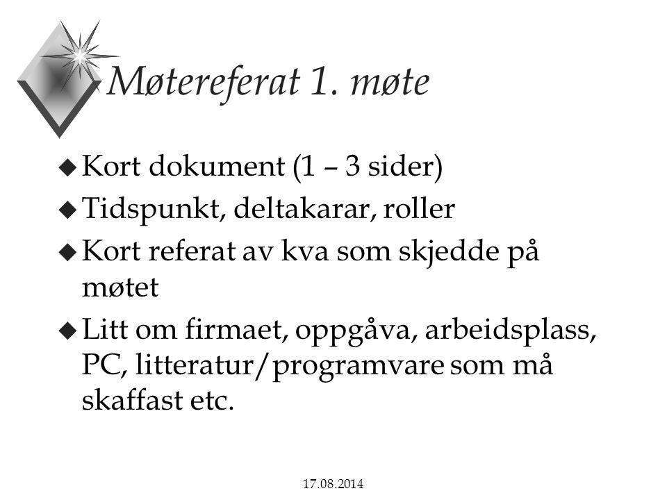 17.08.2014 Møtereferat 1.