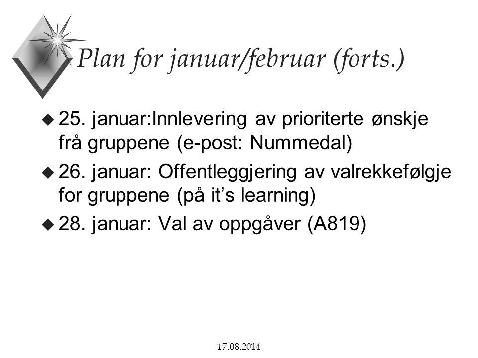 17.08.2014 Plan for januar/februar (forts.) u 25.