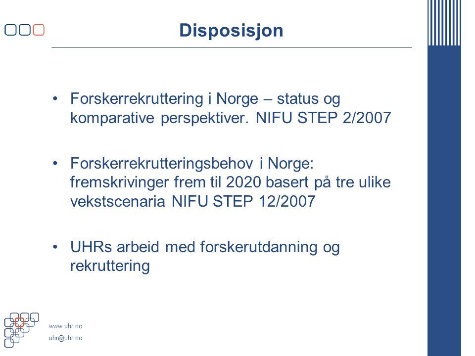 www.uhr.no uhr@uhr.no Status i forskerrekrutteringen