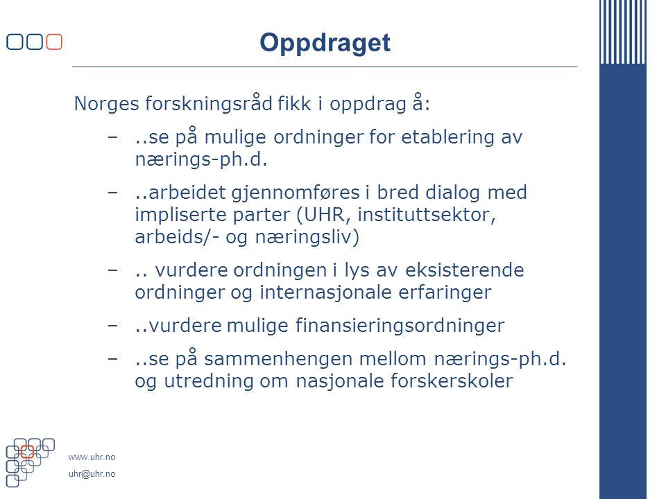 www.uhr.no uhr@uhr.no Oppdraget Norges forskningsråd fikk i oppdrag å: –..se på mulige ordninger for etablering av nærings-ph.d.