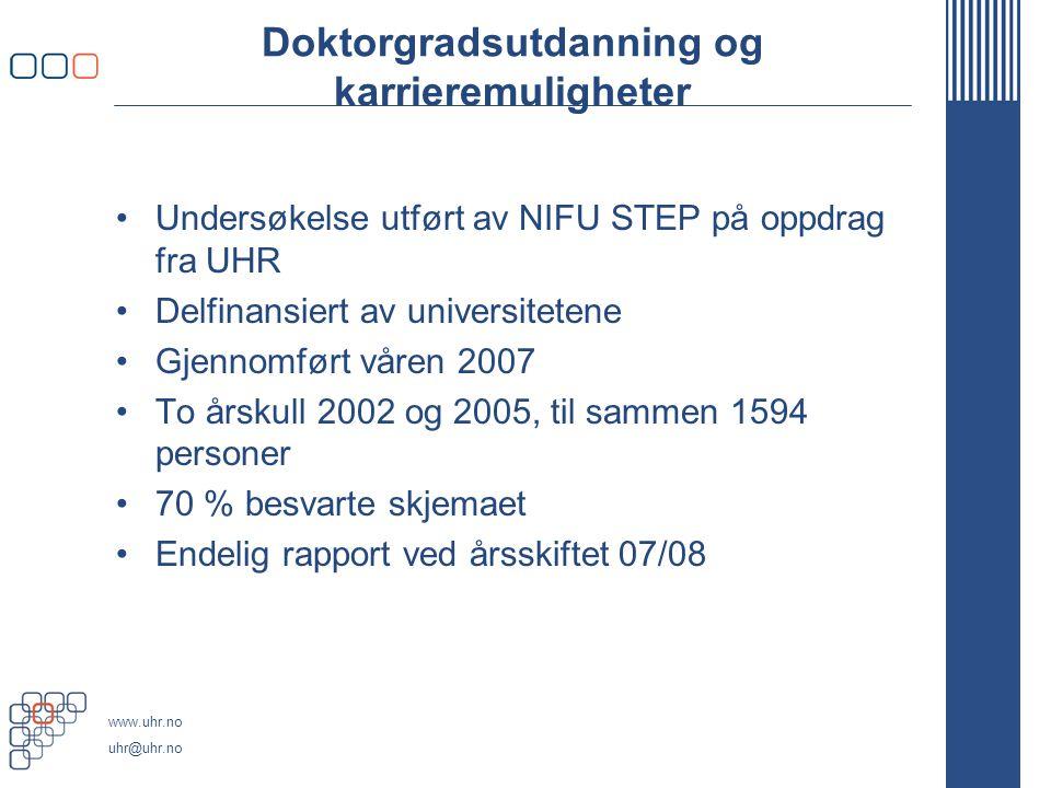 www.uhr.no uhr@uhr.no Doktorgradsutdanning og karrieremuligheter Undersøkelse utført av NIFU STEP på oppdrag fra UHR Delfinansiert av universitetene Gjennomført våren 2007 To årskull 2002 og 2005, til sammen 1594 personer 70 % besvarte skjemaet Endelig rapport ved årsskiftet 07/08