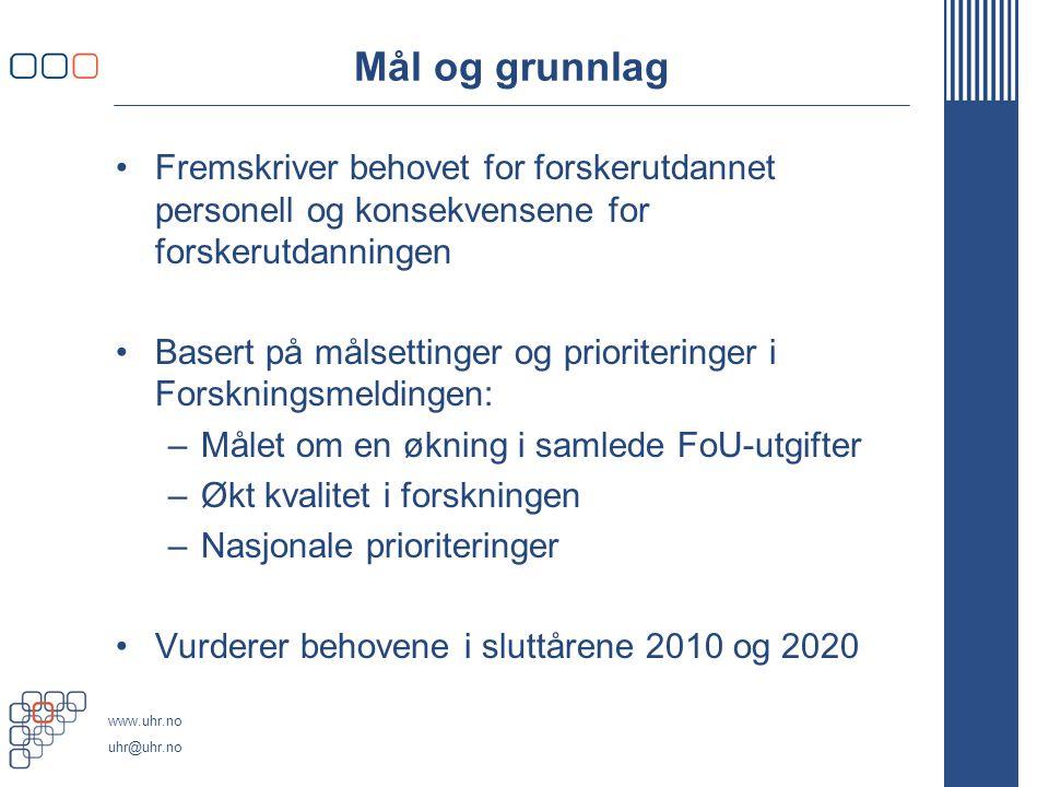 www.uhr.no uhr@uhr.no Tre scenarier -Scenario A: forutsetter nullvekst i forskningsbudsjettene -Scenario B: målene i Forskningsmeldingen nås delvis, bla.