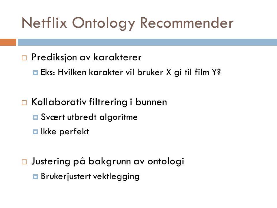 Netflix Ontology Recommender  Prediksjon av karakterer  Eks: Hvilken karakter vil bruker X gi til film Y?  Kollaborativ filtrering i bunnen  Svært