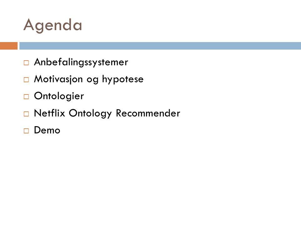 Agenda  Anbefalingssystemer  Motivasjon og hypotese  Ontologier  Netflix Ontology Recommender  Demo