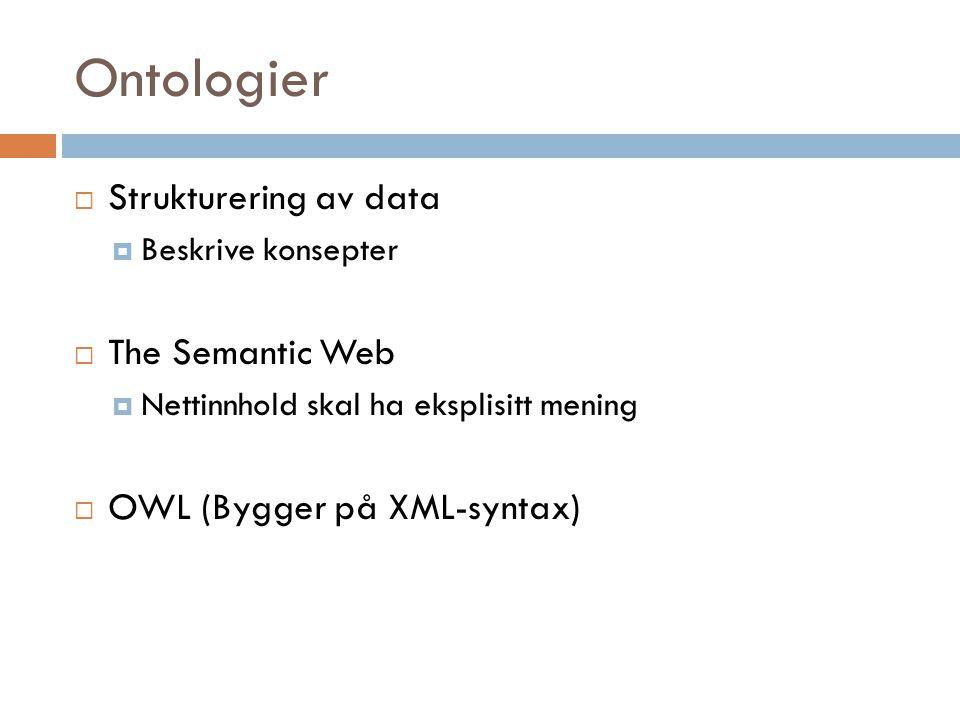 Ontologier  Strukturering av data  Beskrive konsepter  The Semantic Web  Nettinnhold skal ha eksplisitt mening  OWL (Bygger på XML-syntax)