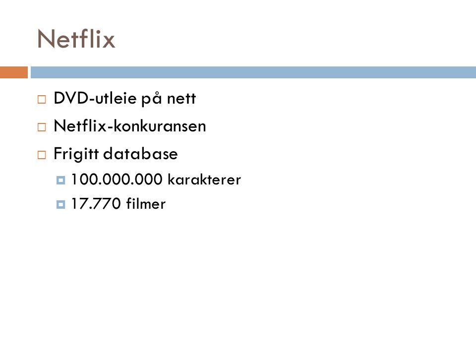 Netflix  DVD-utleie på nett  Netflix-konkuransen  Frigitt database  100.000.000 karakterer  17.770 filmer