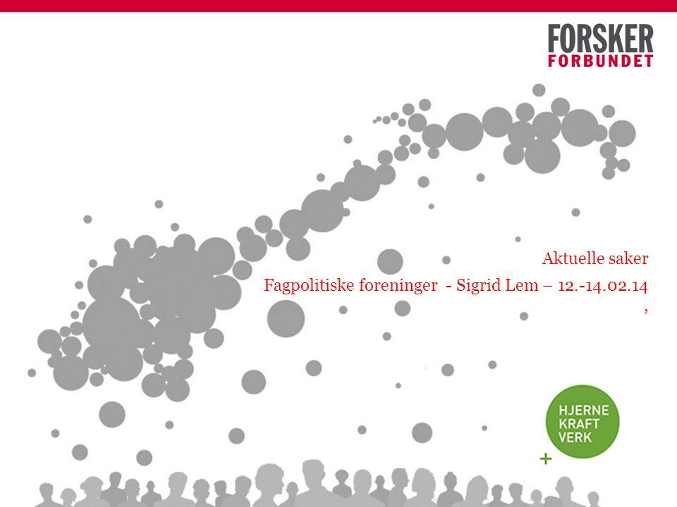 Aktuelle saker Fagpolitiske foreninger - Sigrid Lem – 12.-14.02.14,