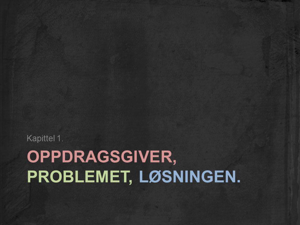 OPPDRAGSGIVER, PROBLEMET, LØSNINGEN. Kapittel 1.