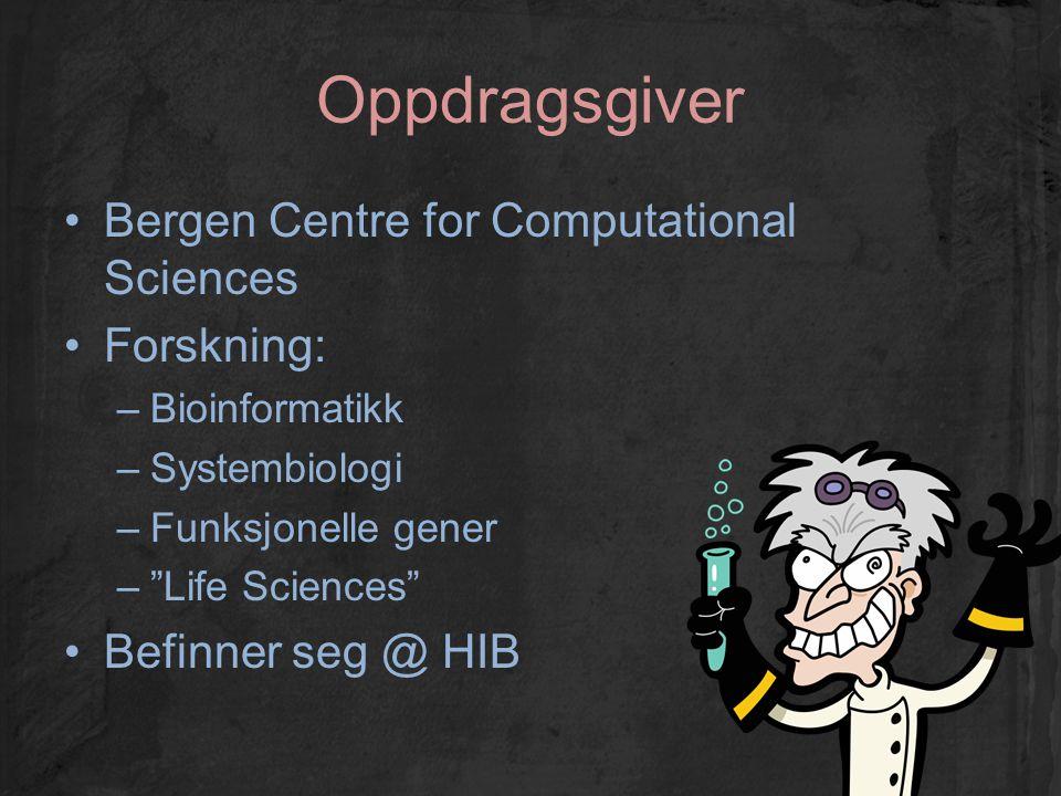 """Oppdragsgiver Bergen Centre for Computational Sciences Forskning: –Bioinformatikk –Systembiologi –Funksjonelle gener –""""Life Sciences"""" Befinner seg @ H"""