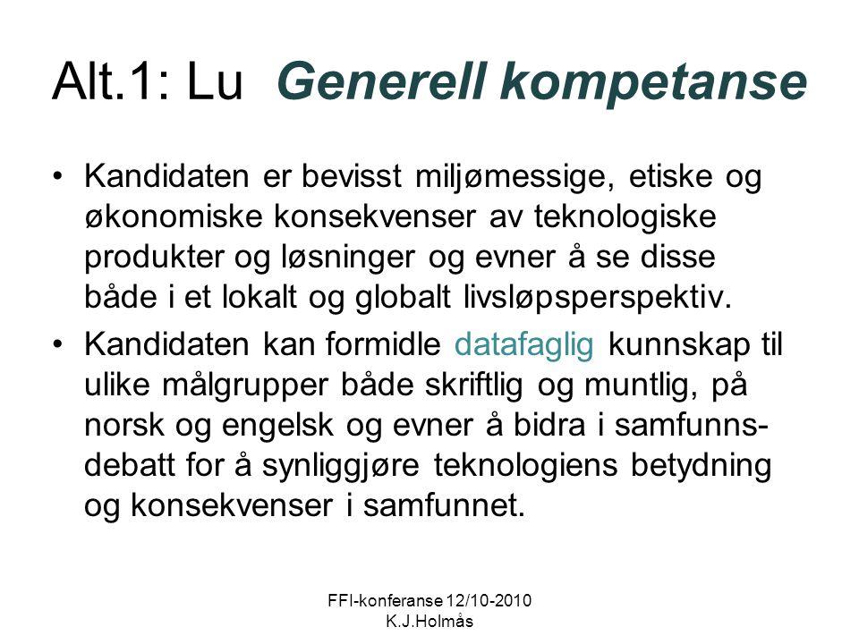 Alt.1: Lu Generell kompetanse Kandidaten er bevisst miljømessige, etiske og økonomiske konsekvenser av teknologiske produkter og løsninger og evner å se disse både i et lokalt og globalt livsløpsperspektiv.