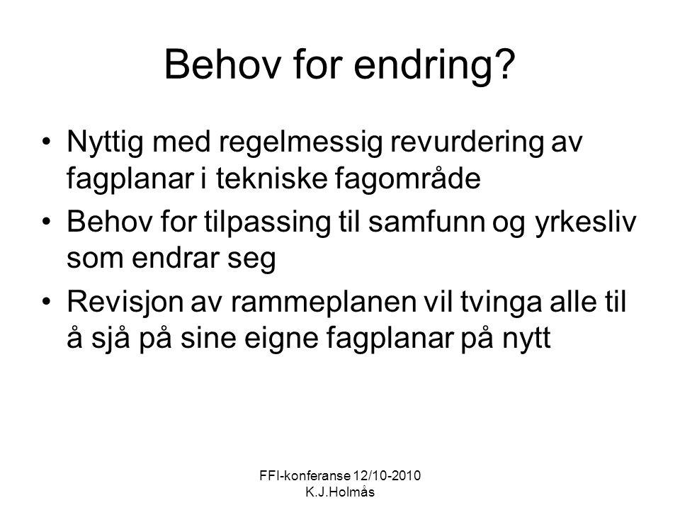 FFI-konferanse 12/10-2010 K.J.Holmås Behov for endring? Nyttig med regelmessig revurdering av fagplanar i tekniske fagområde Behov for tilpassing til