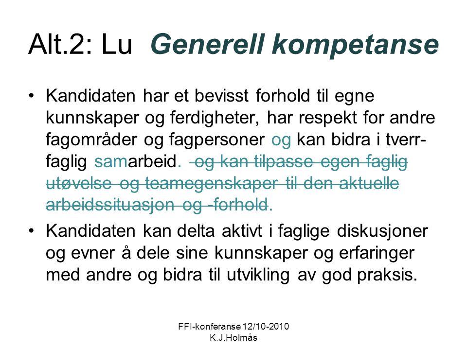 Alt.2: Lu Generell kompetanse Kandidaten har et bevisst forhold til egne kunnskaper og ferdigheter, har respekt for andre fagområder og fagpersoner og kan bidra i tverr- faglig samarbeid.