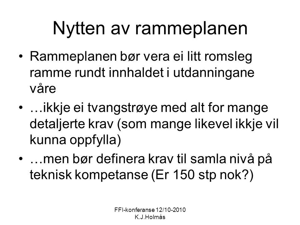 FFI-konferanse 12/10-2010 K.J.Holmås Nytten av rammeplanen Rammeplanen bør vera ei litt romsleg ramme rundt innhaldet i utdanningane våre …ikkje ei tv