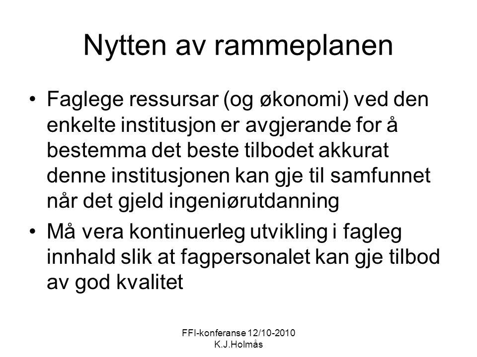 FFI-konferanse 12/10-2010 K.J.Holmås Nytten av rammeplanen Faglege ressursar (og økonomi) ved den enkelte institusjon er avgjerande for å bestemma det
