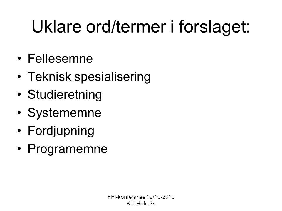 FFI-konferanse 12/10-2010 K.J.Holmås Uklare ord/termer i forslaget: Fellesemne Teknisk spesialisering Studieretning Systememne Fordjupning Programemne