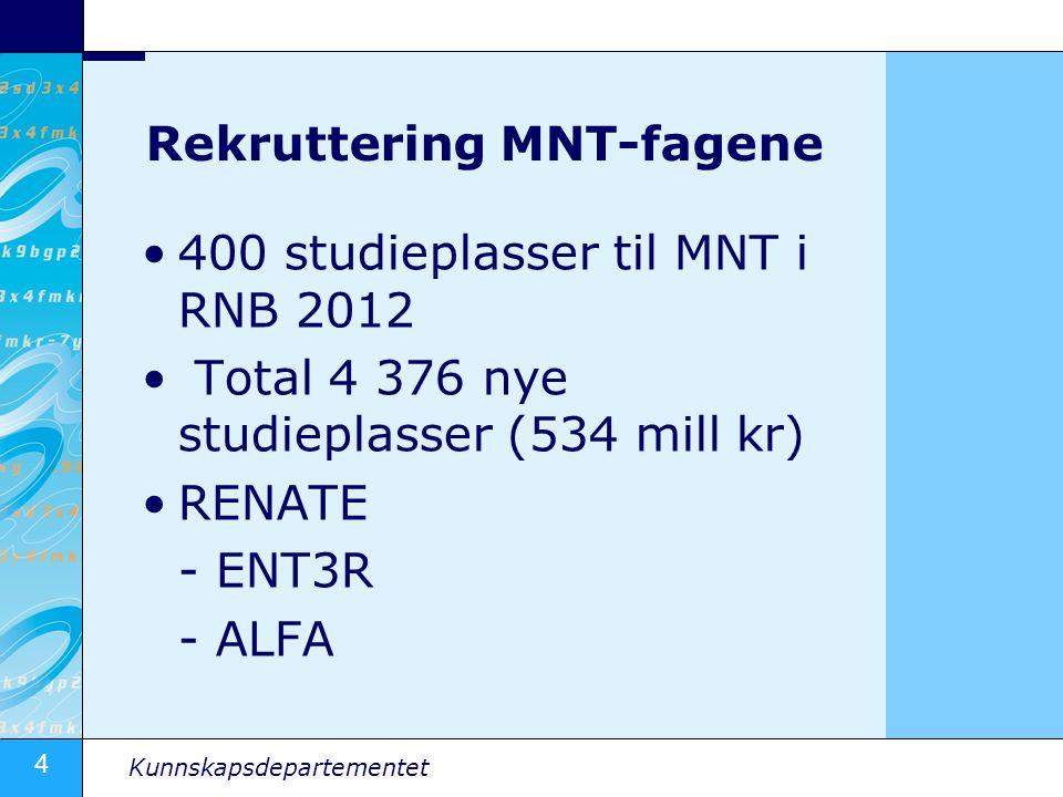 4 Kunnskapsdepartementet Rekruttering MNT-fagene 400 studieplasser til MNT i RNB 2012 Total 4 376 nye studieplasser (534 mill kr) RENATE - ENT3R - ALF