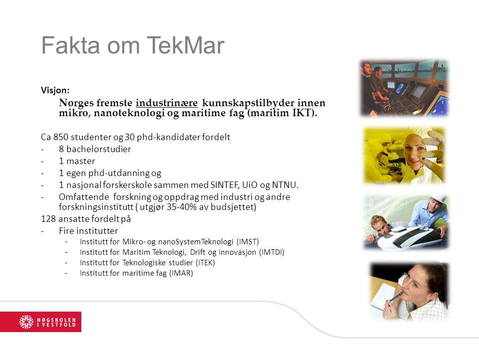 Fakta om TekMar Visjon: Norges fremste industrinære kunnskapstilbyder innen mikro, nanoteknologi og maritime fag (maritim IKT). Ca 850 studenter og 30