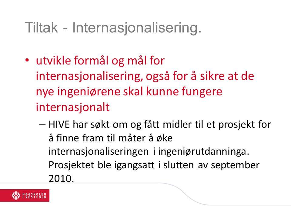 Tiltak - Internasjonalisering. utvikle formål og mål for internasjonalisering, også for å sikre at de nye ingeniørene skal kunne fungere internasjonal