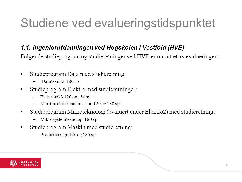 Studiene ved evalueringstidspunktet 1.1. Ingeniørutdanningen ved Høgskolen i Vestfold (HVE) Følgende studieprogram og studieretninger ved HVE er omfat