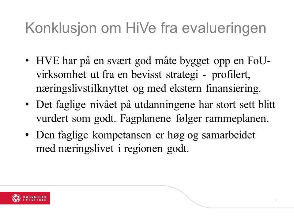 Konklusjon om HiVe fra evalueringen HVE har på en svært god måte bygget opp en FoU- virksomhet ut fra en bevisst strategi - profilert, næringslivstilk