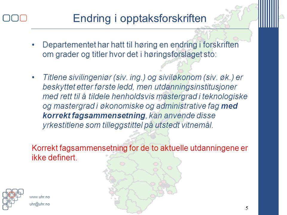 www.uhr.no uhr@uhr.no Grunnlag for å diskutere karakteristikk av siv.ing.