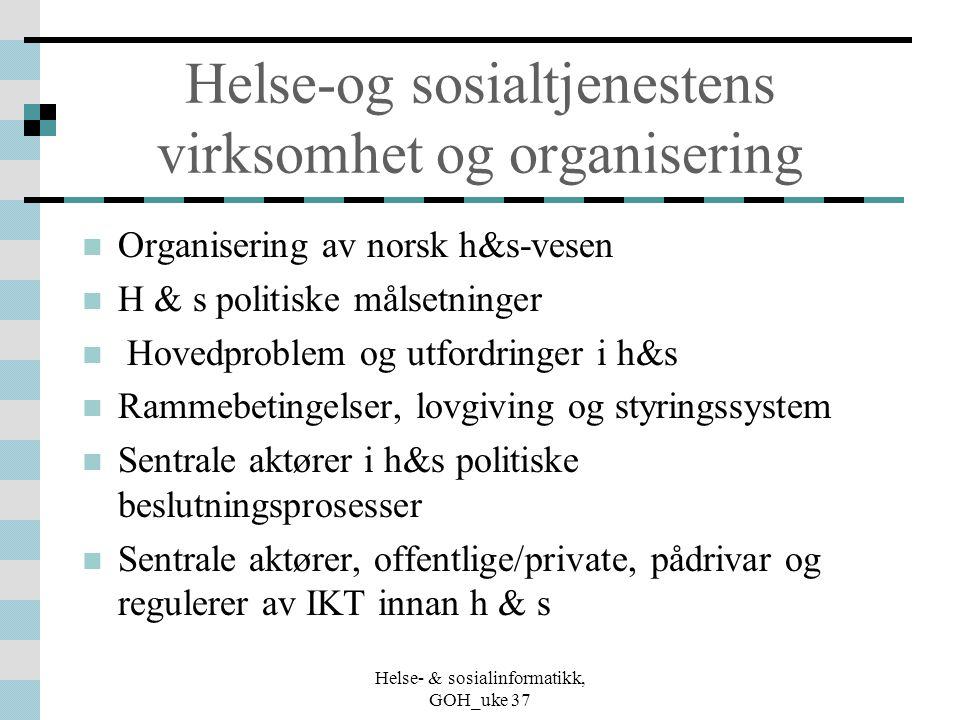 Helse- & sosialinformatikk, GOH_uke 37 Helse-og sosialtjenestens virksomhet og organisering Organisering av norsk h&s-vesen H & s politiske målsetning