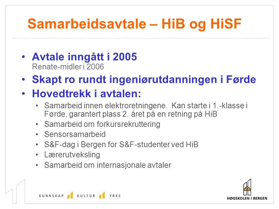 Samarbeidsavtale – HiB og HiSF Avtale inngått i 2005 Renate-midler i 2006 Skapt ro rundt ingeniørutdanningen i Førde Hovedtrekk i avtalen: Samarbeid innen elektroretningene.